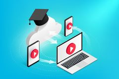 Online education concept devices vector illustration