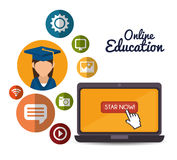 Online education design. Vector illustration eps10 graphic Stock Photography