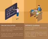 Online Education and Distance Learning Poster vector illustration