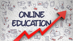 Online Education Drawn on White Brickwall. Royalty Free Stock Photo