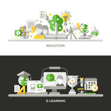 Online Education, E-Learning Concept Compositions Banners Set. Online Education, E-Learning concepts compositions set. Vector modern line flat design Stock Image