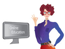 Online Education. E-learning Concept with a Girl showing Ok Stock Photos