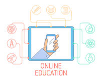 Online education and e-learning concept vector line illustration. Online education and e-learning concept. Vector flat line illustration of tablet with hand Royalty Free Stock Images