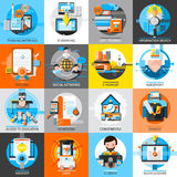 Online Education Flat Color Icons Set Royalty Free Stock Photo