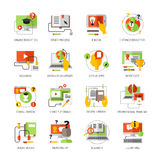 Online Education Flat Color Pictograms Set Royalty Free Stock Photo