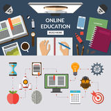 Online education flat concept background banner Stock Image