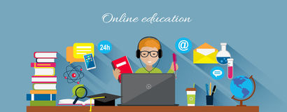 Online Education Flat Design Concept Royalty Free Stock Images