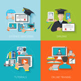 Online Education Flat. Online education design concept set with distance diploma tutorials training flat icons isolated vector illustration Stock Image