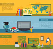 Online education flat horizontal banner set. With distance tutorials and training elements, geography, biology and science,  vector illustration Stock Photography