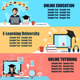 Online education flat horizontal banner set with distance tutorials and training elements isolated  illustration. Online education flat horizontal banner set Royalty Free Stock Photography