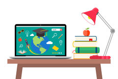 Online education flat horizontal banner set with distance tutorials and training elements isolated vector illustration. Online education concept. Laptop with Stock Photography