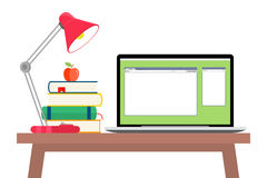 Online education flat horizontal banner set with distance tutorials and training elements isolated vector illustration. Online education concept. Laptop with Royalty Free Stock Photos