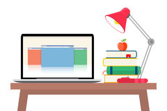 Online education flat horizontal banner set with distance tutorials and training elements isolated vector illustration. Online education concept. Laptop with Royalty Free Stock Photo