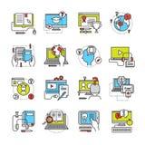 Online Education Flat Icon Set Stock Photos