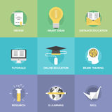 Online education flat icons set Stock Photos