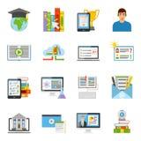 Online Education Flat Icons Set Royalty Free Stock Image