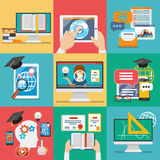 Online education flat icons vector. Online education icons or vector flat education concepts Royalty Free Stock Photo