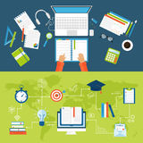 Online education flat icons vector set of distance school and webinar symbols. Stock Photos