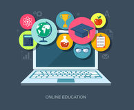 Online education flat illustration Royalty Free Stock Photos
