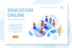 Online education flat landing page vector template royalty free illustration