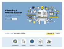 Online education flat line banner Royalty Free Stock Image