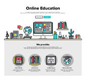 Online education flat line web graphics Royalty Free Stock Photo