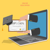Online education flat vector concept. Stock Photos