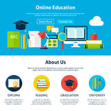 Online Education Flat Web Design Template Stock Images