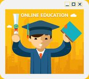 Online education. Graduate in gown and hat into Stock Photography