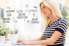Online Education with happy young woman in front of the computer Royalty Free Stock Images