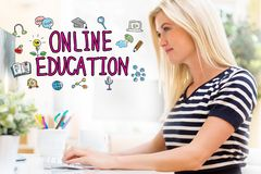 Online Education with happy young woman in front of the computer Stock Photography