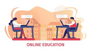 Online Education Horizontal Banner royalty free illustration