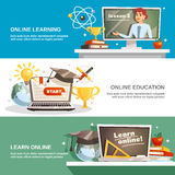 Online Education Horizontal Banners Royalty Free Stock Photos