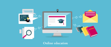 Online Education Icon Flat Design Royalty Free Stock Image