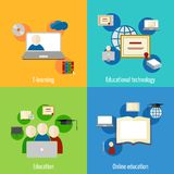 Online education icon flat Stock Image