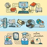 Online education icon sketch banner Stock Images