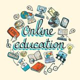 Online education icon sketch Royalty Free Stock Image