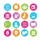 Online education icons. Collection of 16 online education icons in colorful buttons royalty free illustration
