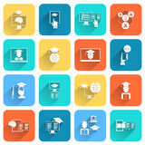 Online Education Icons Flat Stock Images