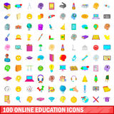 100 online education icons set, cartoon style. 100 online education icons set in cartoon style for any design vector illustration Stock Illustration