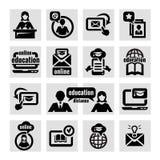 Online education icons set stock illustration