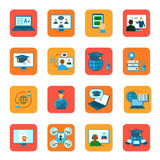 Online Education Icons Set Stock Images