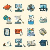 Online Education Icons Sketch Royalty Free Stock Image