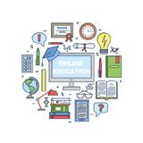 Online education icons vector set . Web teaching collection. Site education sign. Computer books, diploma. Certificate calculator globe. Line style Stock Images
