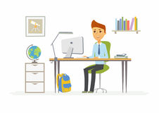 Online education - illustration of boy student at home computer. Online education - modern vector illustration of happy senior school boy student working at the Stock Photo