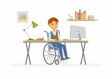 Online education - illustration of disabled school boy at home computer. Online education - modern vector illustration of happy disabled junior school boy Stock Photos