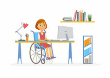 Online education - illustration of disabled school girl at home computer. Online education - modern vector illustration of happy disabled junior school girl Stock Images