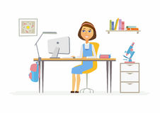 Online education - illustration of girl student at home computer. Online education - modern vector illustration of happy senior school girl student working at Royalty Free Stock Photos