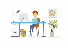Online education - illustration of school boy student at home computer. Online education - modern vector illustration of happy junior school boy student working Royalty Free Stock Image