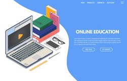 Online education isometric banner. Online education on computer web app. Isometric laptop with online video playing on screen and phone. Books and glasses vector illustration